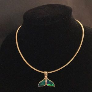 Jewelry - 14k gold whale tail with abalone inset.